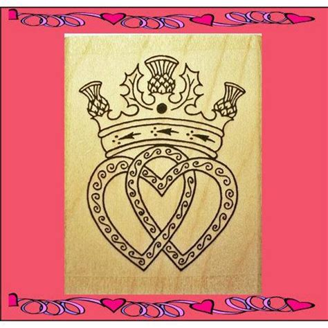 scottish luckenbooth hearts thistle crown rubber stamp by