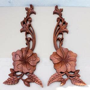 balinese traditional tropical flowers panel wood carving bali wall pair ebay