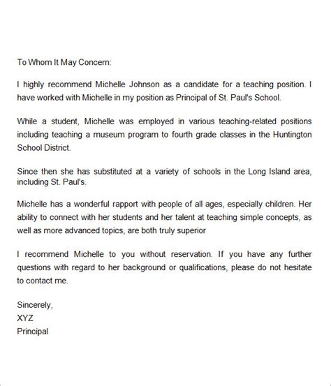 sle letter of recommendation for teacher 18
