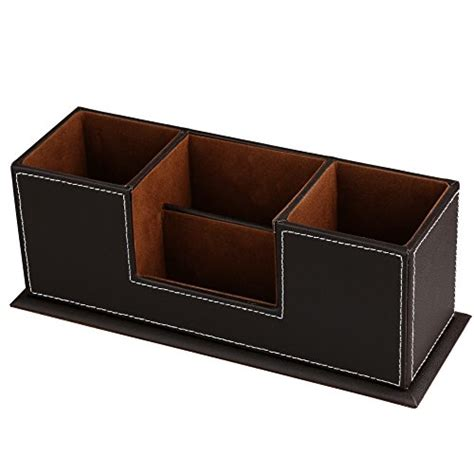 Desk Organizer Leather Hometek Pu Leather Desktop Storage Box 4 Compartment Desk Organizer Card Pen Pencil Mobile Phone