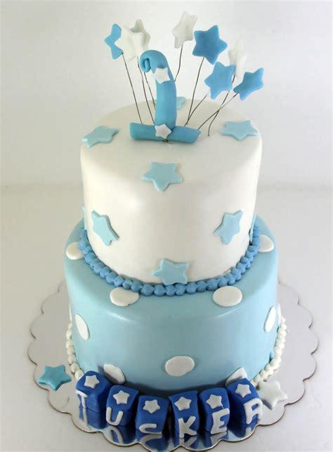tastefully  baby boy blue st birthday cake