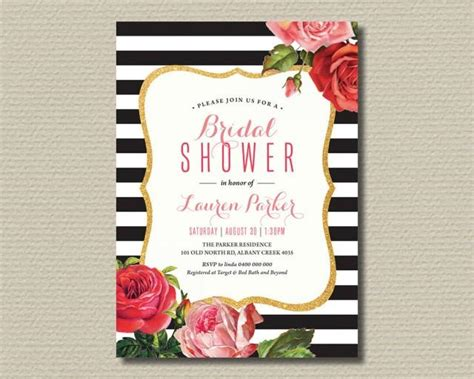 printable bridal shower invitation black and white