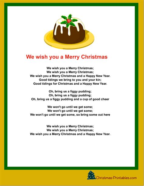 testo i wish free printable carols and songs lyrics
