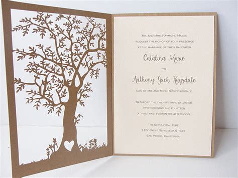 Tree Laser Cut Wedding Invitation Tree Wedding Invitations Templates