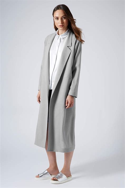 light grey long coat lyst topshop summer light wool coat by boutique in gray