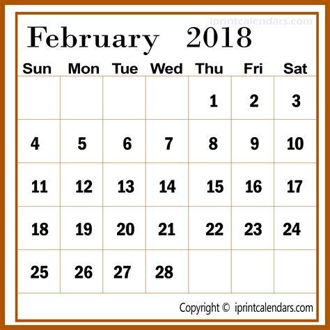 february 2018 calendar canada with templates and pdf format