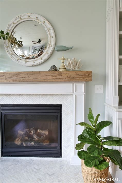 Wooden Beam Fireplace by Coastal Family Room And Fireplace Makeover Sand And Sisal