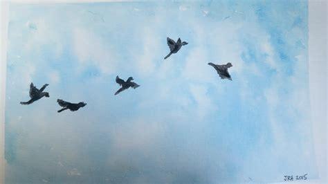 acrylic painting birds in sky watercolor speed painting sky birds in flight