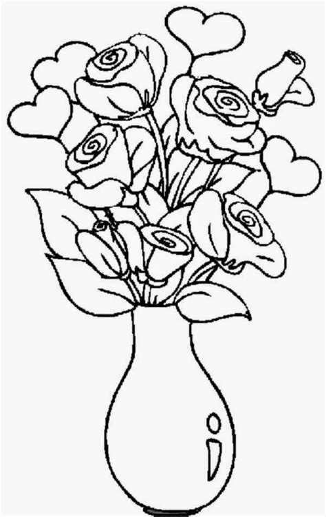 coloring pages of flowers in a vase free a vase with flowers coloring pages