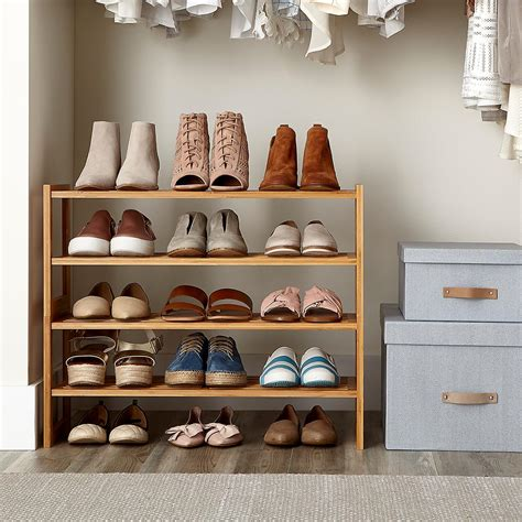 shelves for shoes 2 tier bamboo stackable shoe shelf the container store