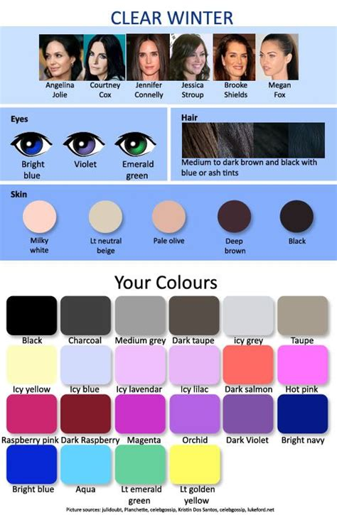 hair colors for winter skin tones hair and fashion color charts clear winter winter and