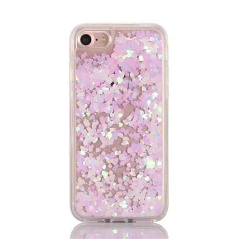 Liquid Glitter Cover Casing For Iphone 7 4 7 Tpu List Chrome iridescent pink hearts and liquid glitter for iphone 7 my is cuter