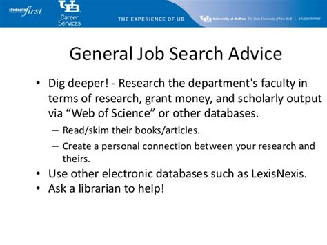 Http Www Lynchburg Edu Academics Career Services Search Resources At Buffalo Career Services Academic Search
