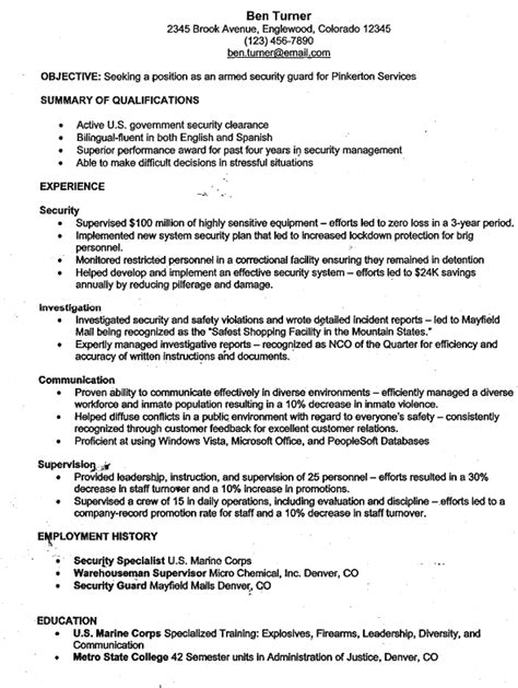 security resume objective armed security guard resume sle resume ideas
