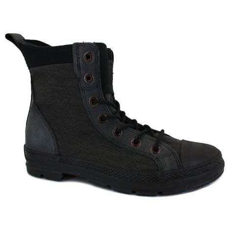 converse mens canvas leather boots black chuck