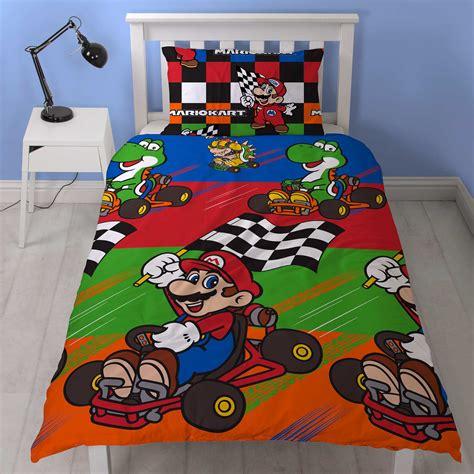 Housse De Couette Mario Kart by Parure De Lit 1 Personne Mario Kart Linge De Lit Bleu