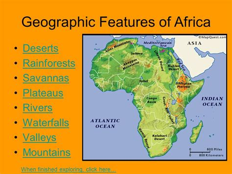 africa map rivers and mountains geography ppt