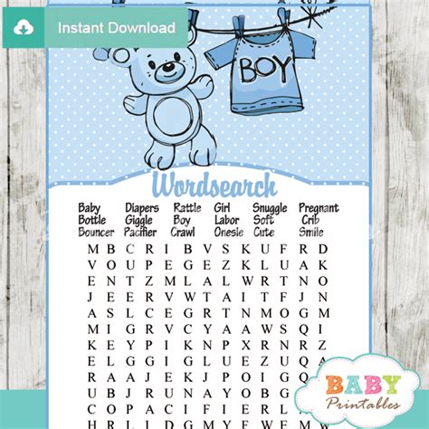 Baby Shower Word Searches by Blue Clothesline Baby Shower Bundle D151