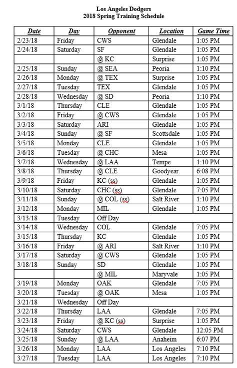 Dodger Schedule Giveaways - dodgers announce 2018 spring training schedule dodger insider