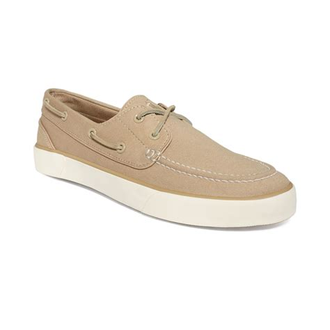 polo boat shoes polo ralph sander p boat shoes in khaki for lyst