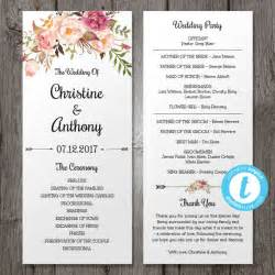 Program Templates Wedding by Floral Bohemian Wedding Program Template Instant By