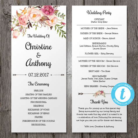 wedding program template floral bohemian wedding program template instant by