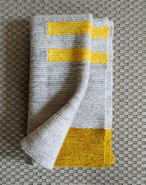 Modern Baby Blanket Knitting Patterns by Pretty Pretty Grey Yellow Baby Blanket