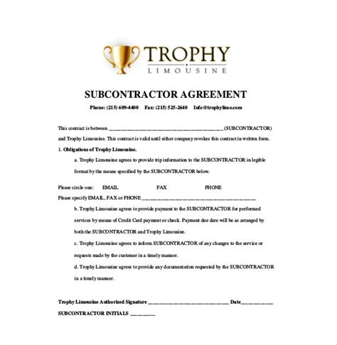 free subcontractor agreement template 14 subcontractor agreement templates free sle
