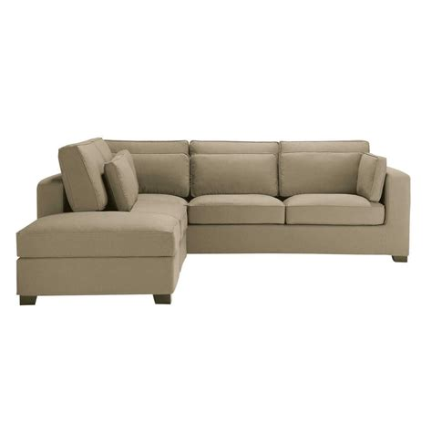 cotton sofas 5 seater cotton corner sofa in taupe milano maisons du monde