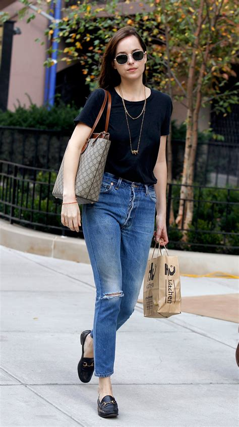 Dakota Johnson Tote Bag dakota johnson wears gucci s logo tote bag vogue
