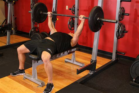 workouts with a bench press barbell bench press medium grip exercise guide and video