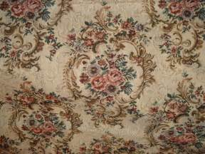 Victorian Fabrics Upholstery Vintage Beige And Floral Pattern Tapestry Fabric 2 Piece Lot