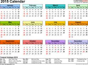 Templates For 2015 Calendar by 2015 Calendar Excel 16 Free Printable Templates