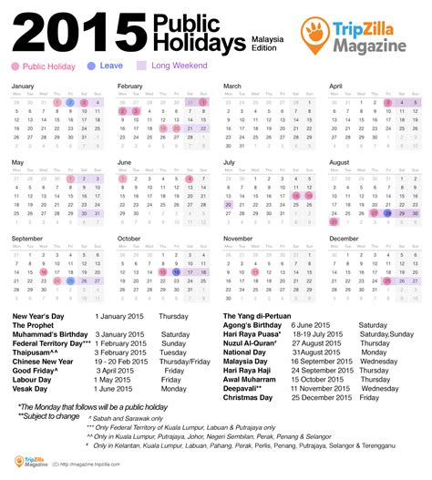 Calendar 2015 With Holidays Table Calendar Malaysia 2015 New Calendar Template Site