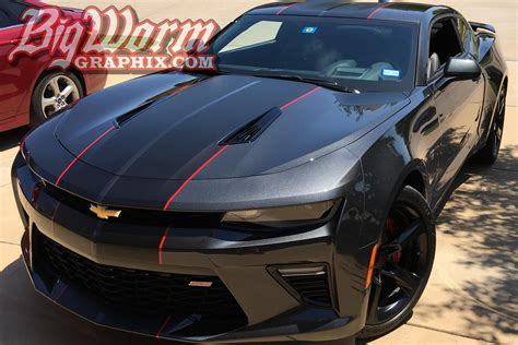 gray camaro with black stripes 2016 17 camaro dual full length stripes from big worm graphix