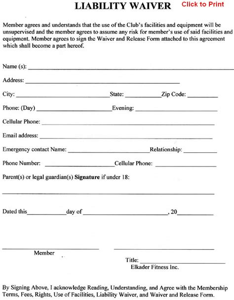 free release form template member agreement liability waiver template