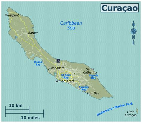 netherlands antilles map large detailed map of curacao with roads and airport