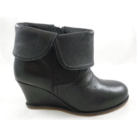lotus tabatha black leather wedge ankle boot lotus from