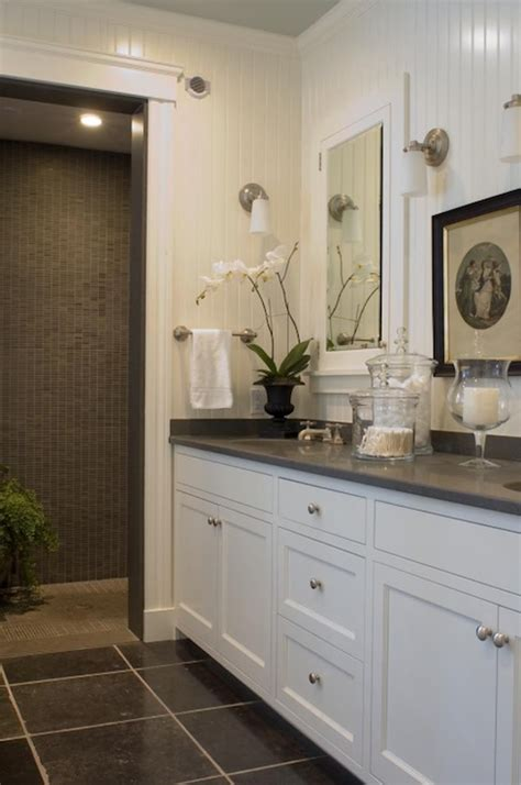 Grey And White Bathroom Decor by Beadboard Cabinets Cottage Bathroom