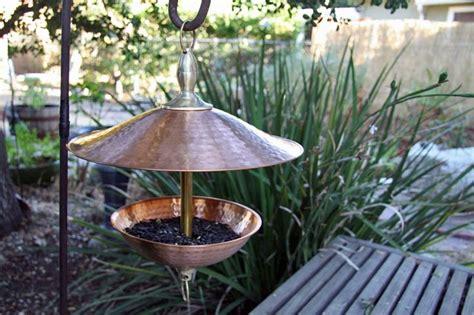 easy fill pure copper and brass bird feeder rain