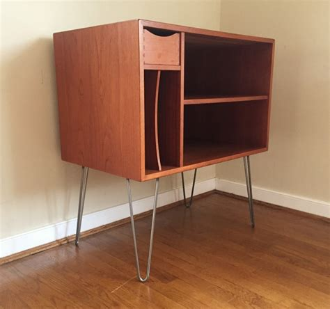mid century modern record cabinet danish modern teak media center with drawer and album