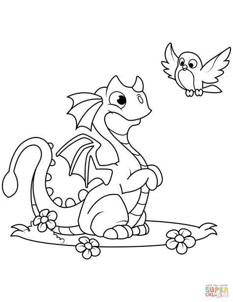 coloring pages dragons and bird coloring page free printable