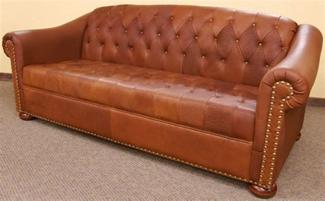 custom made camel tufted leather sofa by dakota bison