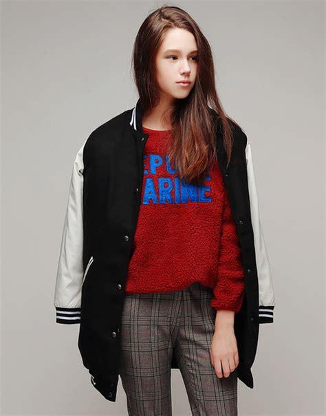 Look Korean Jaket Comby Leather 51 storets faux leather sleeves padded baseball jacket kstylick korean fashion k pop