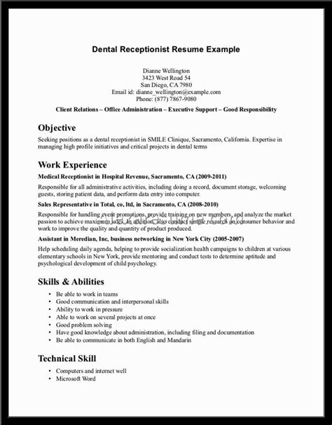 Sle Objective In Resume For Receptionist sle resume receptionist 28 images resume of a