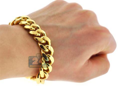 yellow gold 925 silver miami cuban link mens bracelet 13