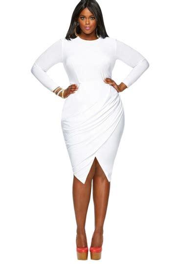 Big Size Dress Casual Black Bell Sleeve Branded Murah womens plain neck sleeve slit plus size dress