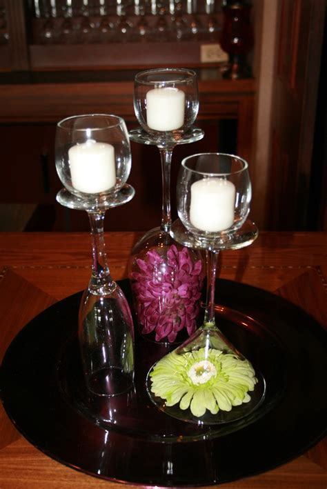 Simple table decoration idea with wine glasses, votives