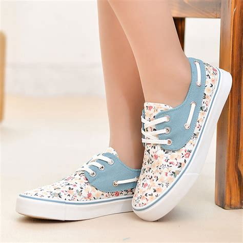 best athletic shoes for flat womens aliexpress buy princess floral canvas shoes