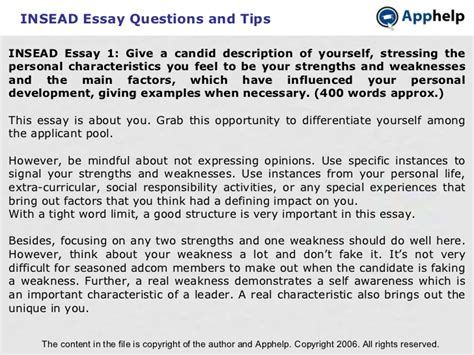 Insead Mba Essays Exles by Insead Essays Insead Essay Tips